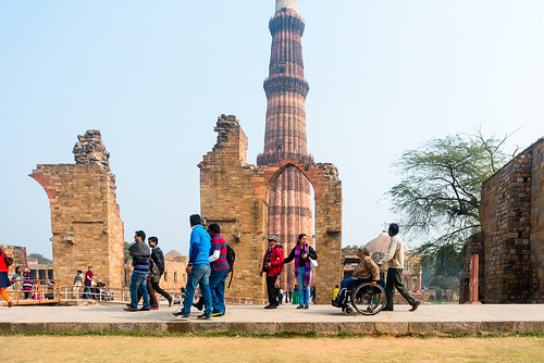 Accessible Tour of Qutub Minar: A beautiful view of the majestic Minar.