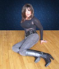 The girl next door... (Irene Nyman) Tags: boots girl next door leggings black belt boobies lace top brunette babe