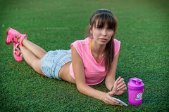 Pink on green (Alexis2k) Tags:  olga   grass green pink pose girl  field