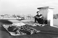 Waking Up on the Rooftop (Joe Mrava) Tags: bushwick brooklyn new york city street photography rooftop nomad wanderlust travel young youth black white kodak tax 400 35mm urban lifestyle explore
