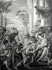 Phillip Medhurst presents Bowyer Bible Gospels print 3411 The wise men's offerings Matthew 2:11 after Veronese (Phillip Medhurst) Tags: matthew gospelofmatthew matthewsgospel gospelaccordingtomatthew jesus christ jesuschrist bowyerbible phillipmedhurst veronese magi wisemen holyfamily epiphany christmas