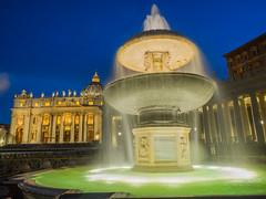 Piazza Sant Pietro. Rome. July 2016 (eloysarrat) Tags: rome longexposition water fountain history square night sant pietro