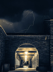 Plasma (self.defenestration) Tags: lightning storm electric clouds night tunnel architecture light contrast blackandwhite sepia splittone purple yellow dramatic stop motion fast action