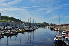 DSC_0513 (stephanie.burgess97) Tags: aberystwyth ceredigion wales uk harbour boats reflections blue sky cloud seaside summer calm water hills