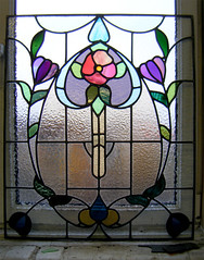 Arts and Crafts styled stained glass flower Glasgow (RDW Glass) Tags: stainedglass scotland artsandcrafts design flower glasgow sash rdwglass repair leaded purple pink green studio jordanhill