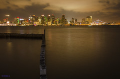 Another view of the skyline (ryanDAR) Tags: skyline harborisland sandiego night fullmoon
