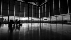 - Waiting Reflections - (Mr. LookUP) Tags: cologne germany blackandwithe blackwhite bw architecture indoor building airport klnbonn unique wideangle canon 5diii 1740mm lovely photography