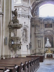 Pews and pulpit, Church of the Annunciation, Valtice, Czechia (Paul McClure DC) Tags: czechia czechrepublic moravia lednickovaltickýareál aug2016 church valtice břeclav architecture historic jihomoravskýkraj
