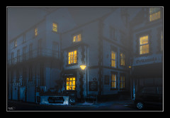 The Little Tea House (see note) (Kevin, (Away 21 Oct / 9 Nov) Traveling) Tags: parkgate thewirral cheshire fog canon1855mm hdr architecture building windows night kevinwalker street lamp