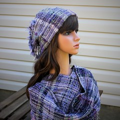 IMG_8934 (wovenflame) Tags: saori handwoven cowl hat lavender mixedwarp texture charlies an angel
