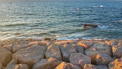 sun on rocks (hafssa_13) Tags: sea plage beach blue bleu soleil sun sunset tangier tanger morocco maroc birds nature naturelovers