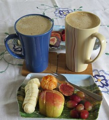 4567 Fruit tray and coffee still life (Andy - Daft as a brush - don't ask!) Tags: 20161001 aaa apple banana bbb blue ccc coffee fawn fff fig fruit ggg grapes mmm mug orange red rrr stilllife tablecloth tangerine tray ttt