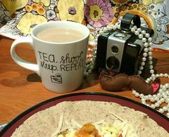 Breakfast before Distinguished Gentlemen (Georgie_grrl) Tags: breakfast brownie tea predistinguishedgentlemansrideshoot breakfastburrito nomnom moustache pearls gottafitinwiththespiffyridersyaknow explore