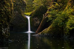 Upper Punchbowl Falls - Columbia RIver Gorge (Captures.ch) Tags: black blue cliff columbiarivergorge fall foliage grass green landscape moos nature orange oregon red reflection september travel tree upperpunchbowlfalls usa water waterfall white yellow wow