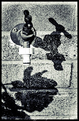 Day 276, 2016, a photo a day. (lizzieisdizzy) Tags: outside outdoors wall brick cement watertap water tap faucet grainy textured shadow shadows elongated misshapened flowershadow tapshadow distorted vignette border brickwall