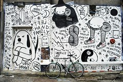 Swamp Donkey Mural (Wires In The Walls) Tags: swampy swampdonkey mural williamsburg brooklyn nyc newyork blackandwhite 2012 bike bicycle streetart