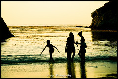 Sunset Kids (Benjamin D. Brooks) Tags: california sunset reflection beach water beauty silhouette kids children golden play shore carmel pointlobos shieldofexcellence