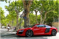 Audi R8 RED in St Tropez (Driss Romain Dinar (Grand-Est-Supercars.com)) Tags: red france cars sport st mercedes benz martin ferrari tropez spyder turbo porsche gt audi edition luxe aston sls sud amg volante gtb supercars r8 db9 997 918 599 drophead rols royces worldcars
