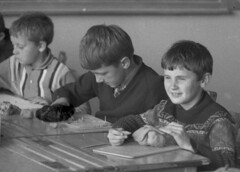 Desks with inkwells (theirhistory) Tags: boy child classroom class clay