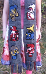 Final Fantasy Scarf (charcoal) (doctormoo) Tags: scarf fighter handmade crafts crochet nintendo sprite gaming gamer thief videogame nes finalfantasy blackbelt whitemage blackmage redmage