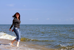 Running on the waves (Osdu) Tags: travel sea sexy water girl lady women russia balticsea russian kaliningrad russiangirl ruscia vistulalagoon ruslaand mygearandme