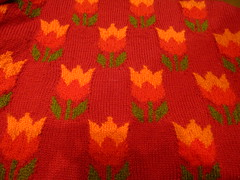 Knitting...tulips! In colour and style! (sifis) Tags: flowers winter red orange green art wool fashion canon sweater knitting pattern tulips knit style athens hobby greece pullover handknitting sakalak woolshop