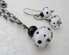 Dalmation Set (Glittering Prize - Trudi) Tags: white black glass necklace beads crystal jet jewellery earrings lampwork pol glittering