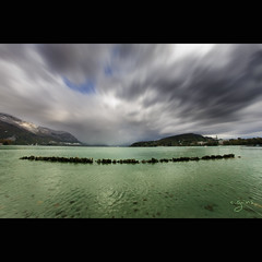 Annecy (~Cess~) Tags: sky lake france green annecy water clouds eau lac vert ciel savoie nuages
