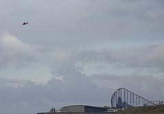 Coastguard Helicopter above Blackpool (Rovers number 9) Tags: uk autumn england minolta sony lancashire blackpool 2012 a65 minoltaaf100200f45 sonya65