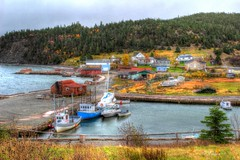 Petley, Random Island (RockyWaters2012) Tags: ocean autumn houses sea canada water beauty port newfoundland boats island bay wooden fishing colours village random harbour cove stage scenic calm stages trinity wharf petley