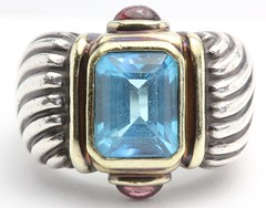 1025. Blue Topaz and Pink Tourmaline Ring, David Yurman