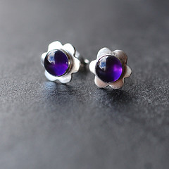 Amethyst Flower Studs (moonflygirl) Tags: flowers jewellery earrings amethyst gemstones moonstone carnelian taniacovo