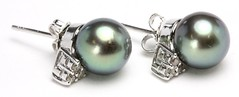 1051. Pair of Tahitian Pearl and Diamond Earrings