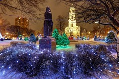 Holiday Lights in Cathedral Square (johndecember) Tags: park winter usa snow wisconsin lights twilight gallery december album milwaukee holidaylights hdr 2012 mke cathedralsquare easttown photomatixpro photoscape