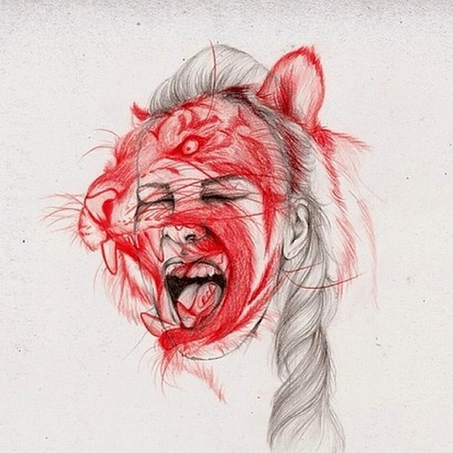 Saw a weird drawing which remind me of a #Chinese #song : #woman is #tiger #shanghai # #china #girl, From FlickrPhotos
