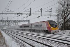 Virgin Trains Pendolino 390154 (Will Swain) Tags: uk england snow west train north january trains 18th line virgin chester crewe snowing chorlton pendolino 2013 390154