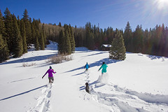Snowshoeing at Trout Lake (VisitTelluride.com) Tags: winter snow dogs night stars snowshoe fire cabin dusk january campfire telluride elk troutlake paragon mountwilson mountainvillage 2013 wilsonpeak telluridetruffle bootdoctors telluridebrewery bridalveilryepaleale