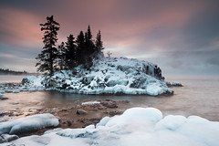 Winter Tombolo (Bryan Hansel) Tags: winter snow cold ice minnesota sunrise mn lakesuperior seasmoke tombolo superhikingtrail
