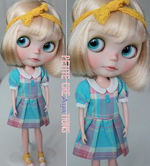 (Aya_27) Tags: pink blue cute me by marina work dress buttons babydoll blythe collar custom petite vainilladolly creayations