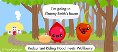 Redcurrant Riding Hood meets Wolfberry (FruityCuties) Tags: trees red cute fruit illustration fairytale forest woods wolf comic basket grandmother path joke cartoon cottage humour littleredridinghood kawaii parody granny currant goji redcurrant wolfberry