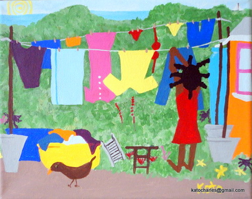 "SOLD.  ""Woman Hanging Clothes"", Acrylic on canvas, 8"" x 10""."