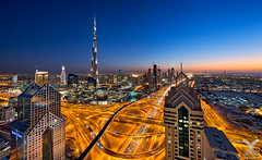 Rush Hour (DanielKHC) Tags: road blue nikon dubai uae zayed khalifa hour sheikh burj interchange d800 nikkor1424mmf28