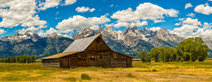 Moulton Barn and Grand Teton (Hongyu Guo) Tags: blue red sky cloud landscape grandteton mormonrow moultonbarn