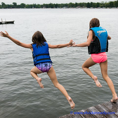 100 Days of Summer #53 - Leap (elviskennedy) Tags: days summer leap two young girls summertime fun jumping lake sony rx1rm2 wwwelviskennedycom feet female free friends girl jump kellylake kennedy kid kids ladies landscape laugh laughing ledge legs lifejacket ocean outdoor outside pink play playing purple raft river rx1 rx1r rx1rii sisterts splash swim swimming swuisuit tide trees wake water wave waves wet wi wideangle wild wisconsin woman women youngster dive elvis bellyflop arms carefree cousins
