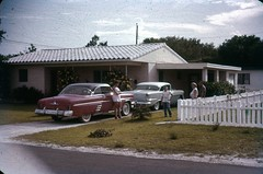 1950s cars in the driveway (rich701) Tags: vintage 35mm color 1950s langhorne pa pennsylvania carclub automobileclub 1954mercury bthriftyfoods texaco youcantrustyourcar