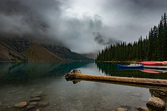 Moraine Lake (Nelepl) Tags: morainelake banff alberta canada mountains outdoors rain snow canoes clouds travel water reflection