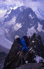 Jean-Michel Starting the Descent Abseils, Petit Dru (andywalker1) Tags: andrewwalker americandirect dru petitdru chamonix alps alpineclimbing