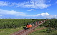 CN 8014 (GLC 392) Tags: emd sd70m2 sd75i cn canadian national 8014 5779 iron ore u743 ki k i sawyer afb airforce base gwinn little lake mi michigan plains clouds pine trees green blue sky railroad railway train