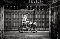 Bangkok By Bicycle #0214-2 (svenpetersen1965) Tags: bangkokstreet alley fence motorbike motorcycle street transport   bangkok krungthepmahanakhon thailand th