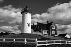 Nobska Lighthouse (WilliamND4) Tags: hff fencefriday blackandwhite blackwhite lighthouse clouds sky nikond750 nikon massachusetts